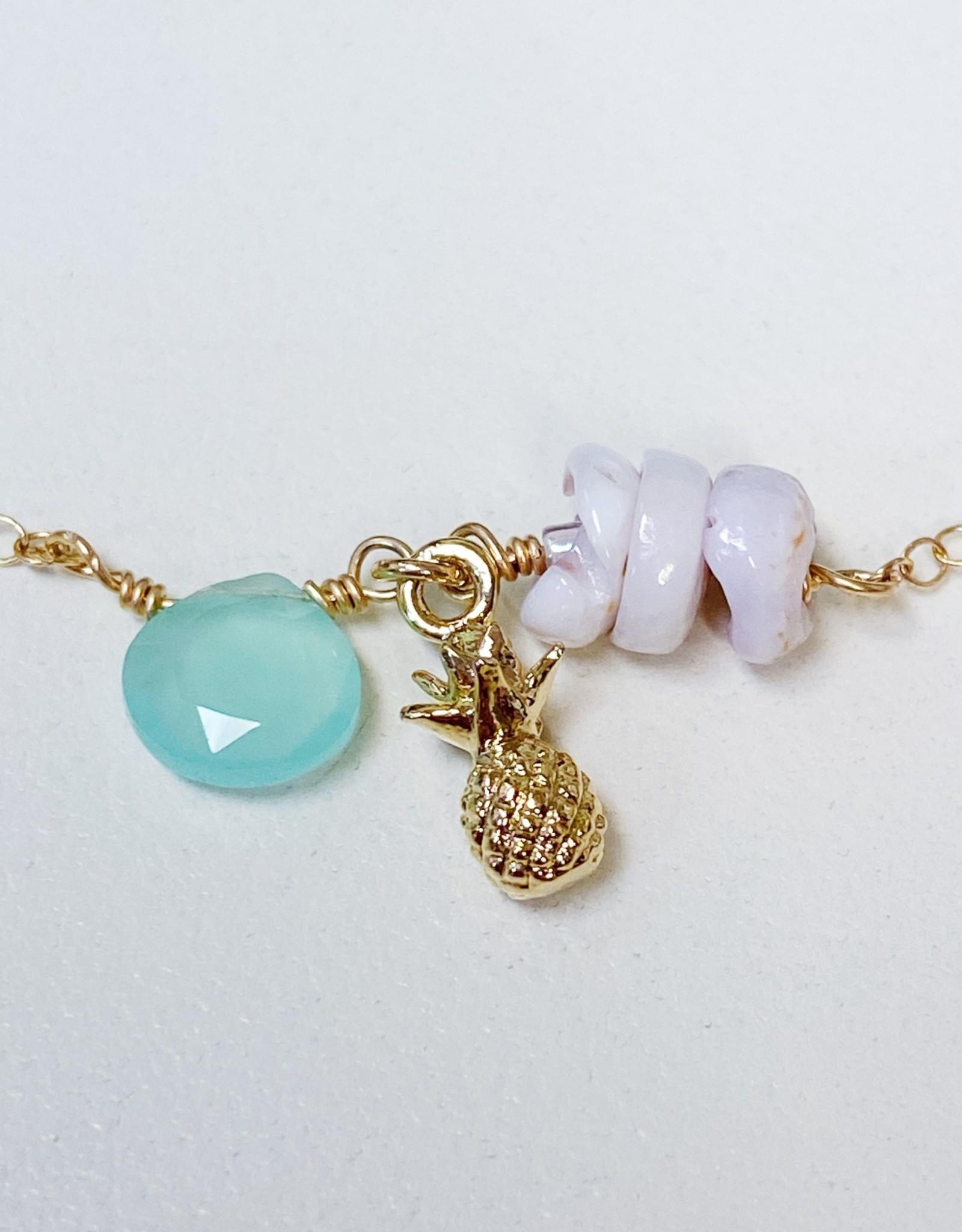 Komakai Jewelry Maile Anklet S/M - Aqua Chalcedony