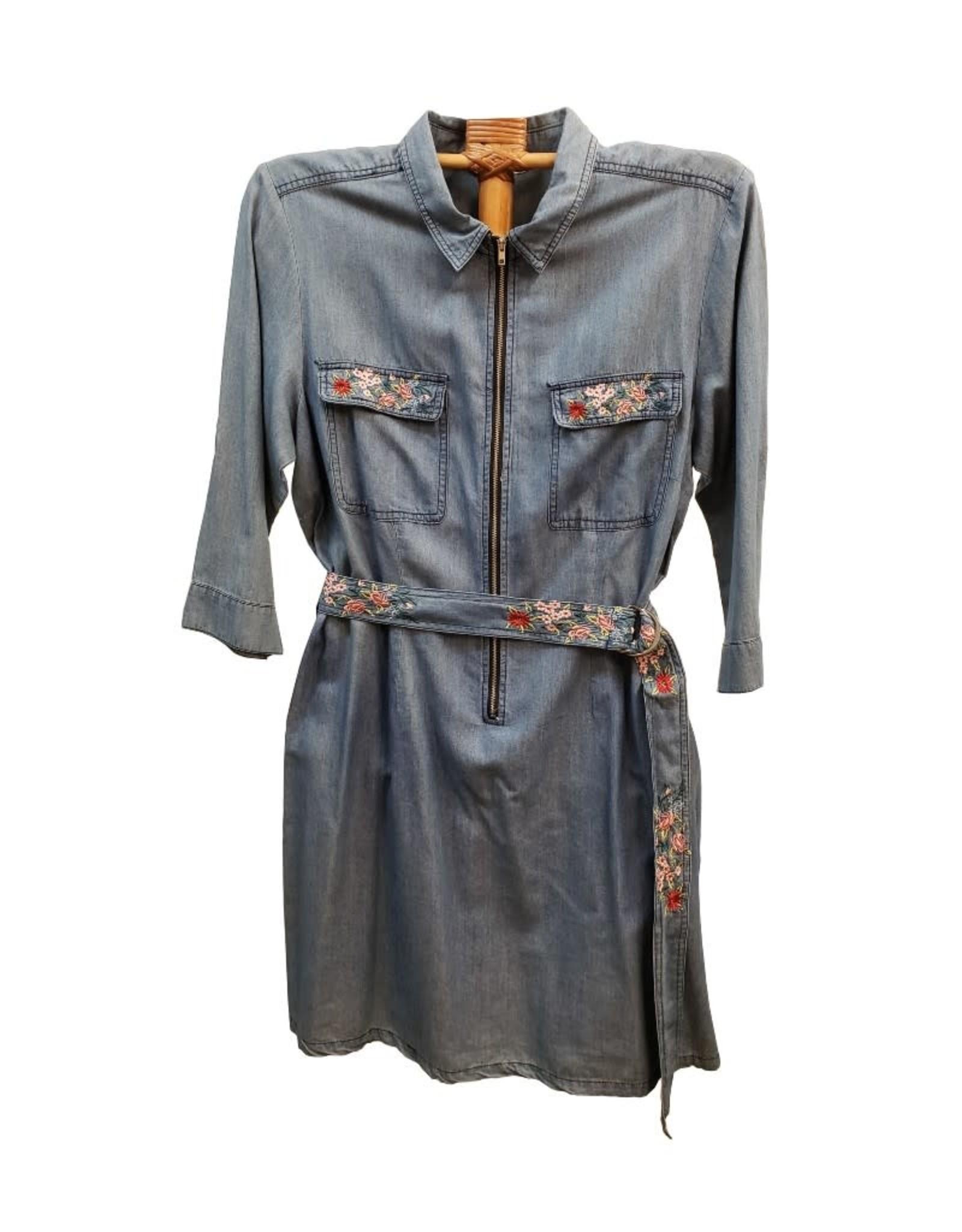Given Kale Tencel Dress w/ Embroidery