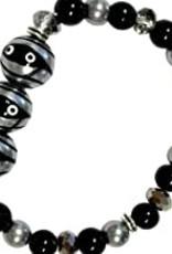 Halloween Mummy Hand Painted Glass Bead Bracelet