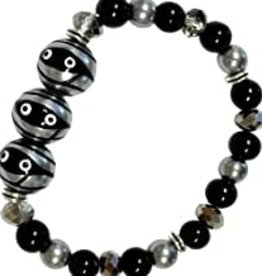 Halloween Mummy Hand Painted Glass Bead Bracelet