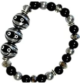 Fiona Accessories Halloween Mummy Hand Painted Glass Bead Bracelet