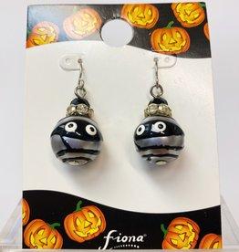 Halloween Mummy Glass Bead Earring