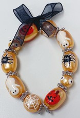 Pearl Color Glass Bead Bracelet-H'ween Pumpkin, Spider, Web