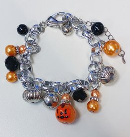 Spooky Halloween Pumpkin Charm Charm Clasp Bracelet