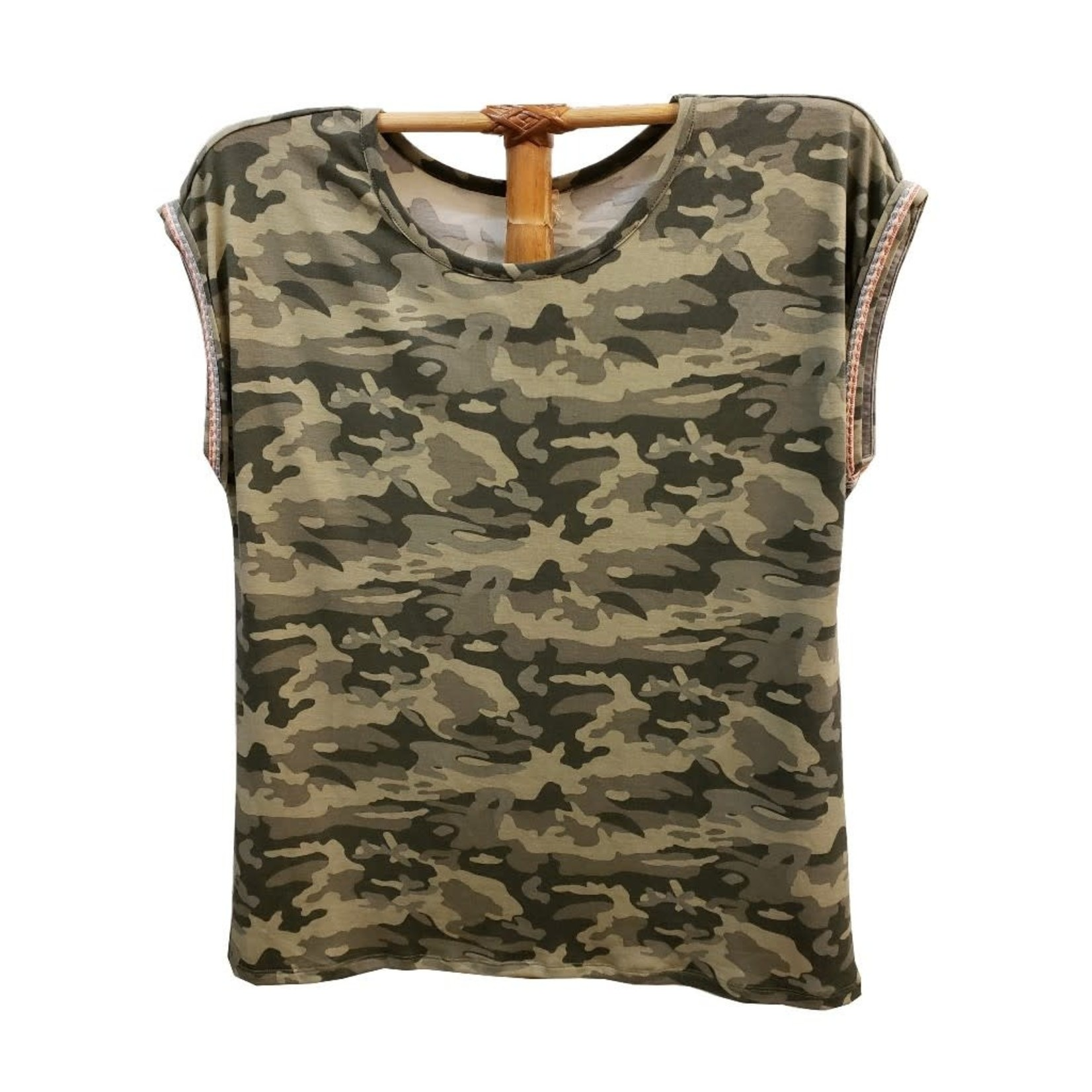 Hem & Thread Camo Tee Shirt w/ Trim
