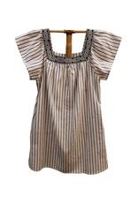 Hem & Thread Square Neck Flutter Sleeve Stripe Dress Multi