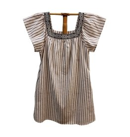 Hem & Thread Square Neck Flutter Sleeve Stripe Dress Multi