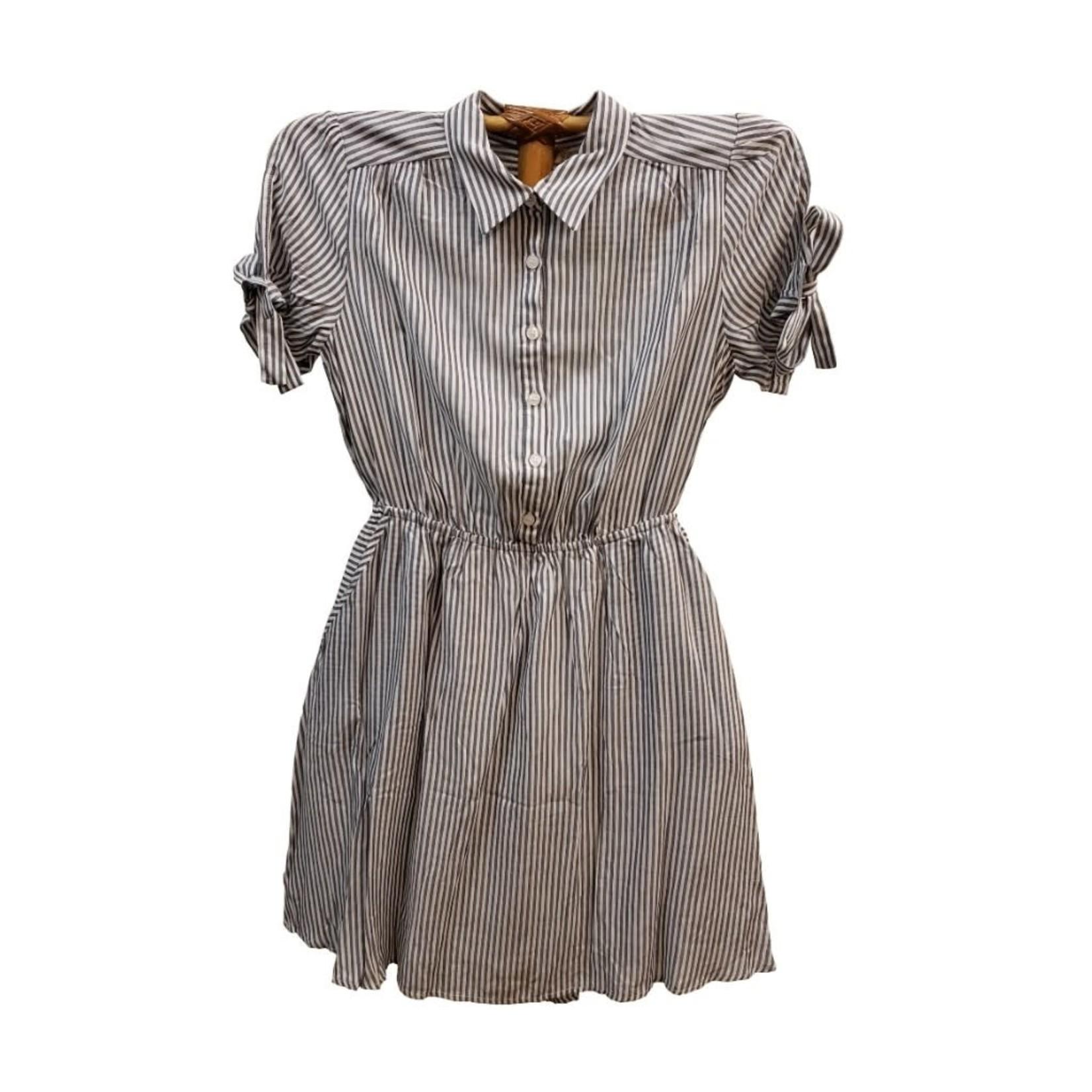 Hem & Thread Stripe Half Button Tie Sleeve Shirt Dress