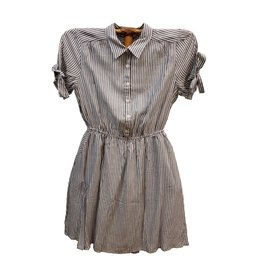 Hem & Thread Stripe Half Button Tie Sleeve Shirt Dress