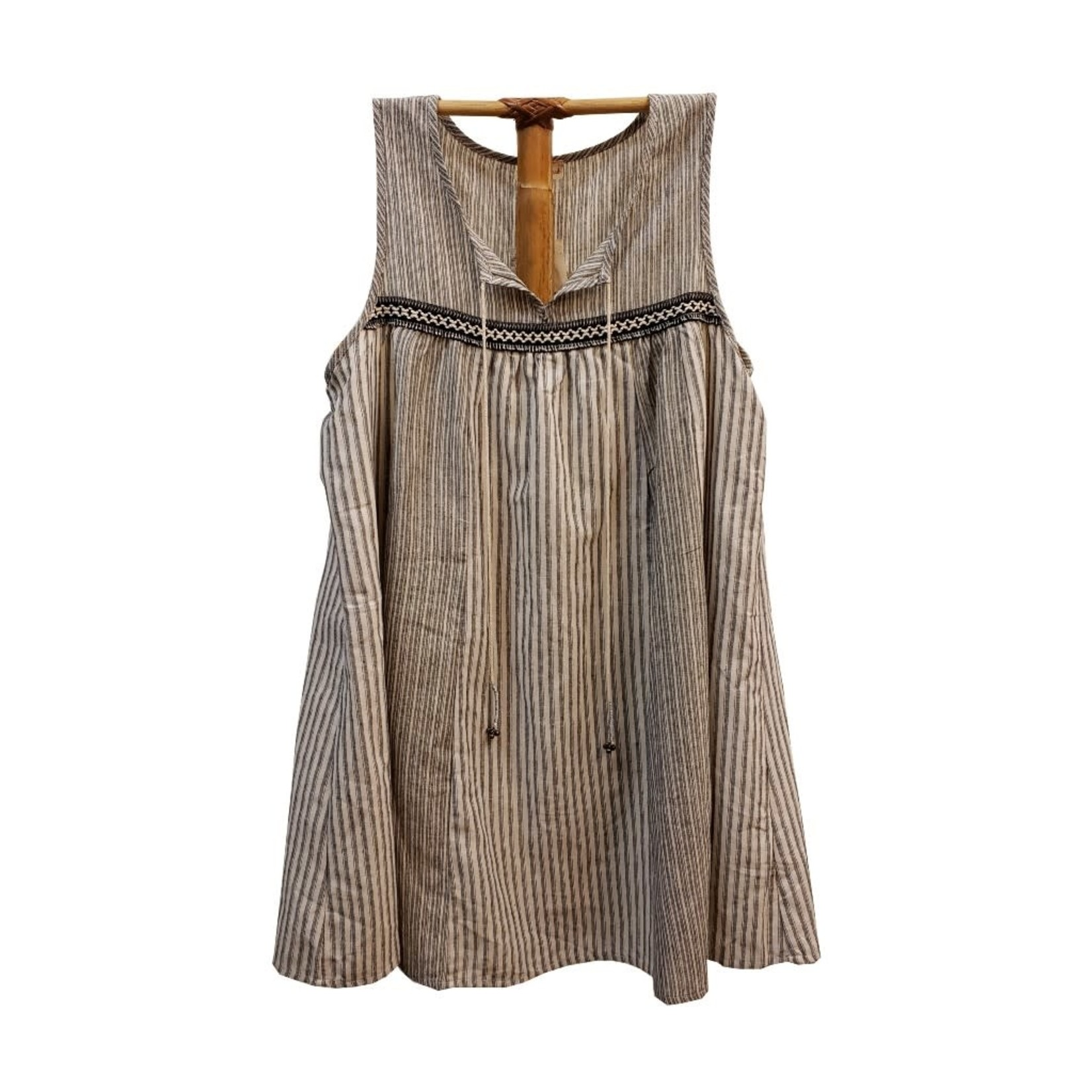 Hem & Thread Mixed Stripe Fringe Trim Dress Black/Ivory
