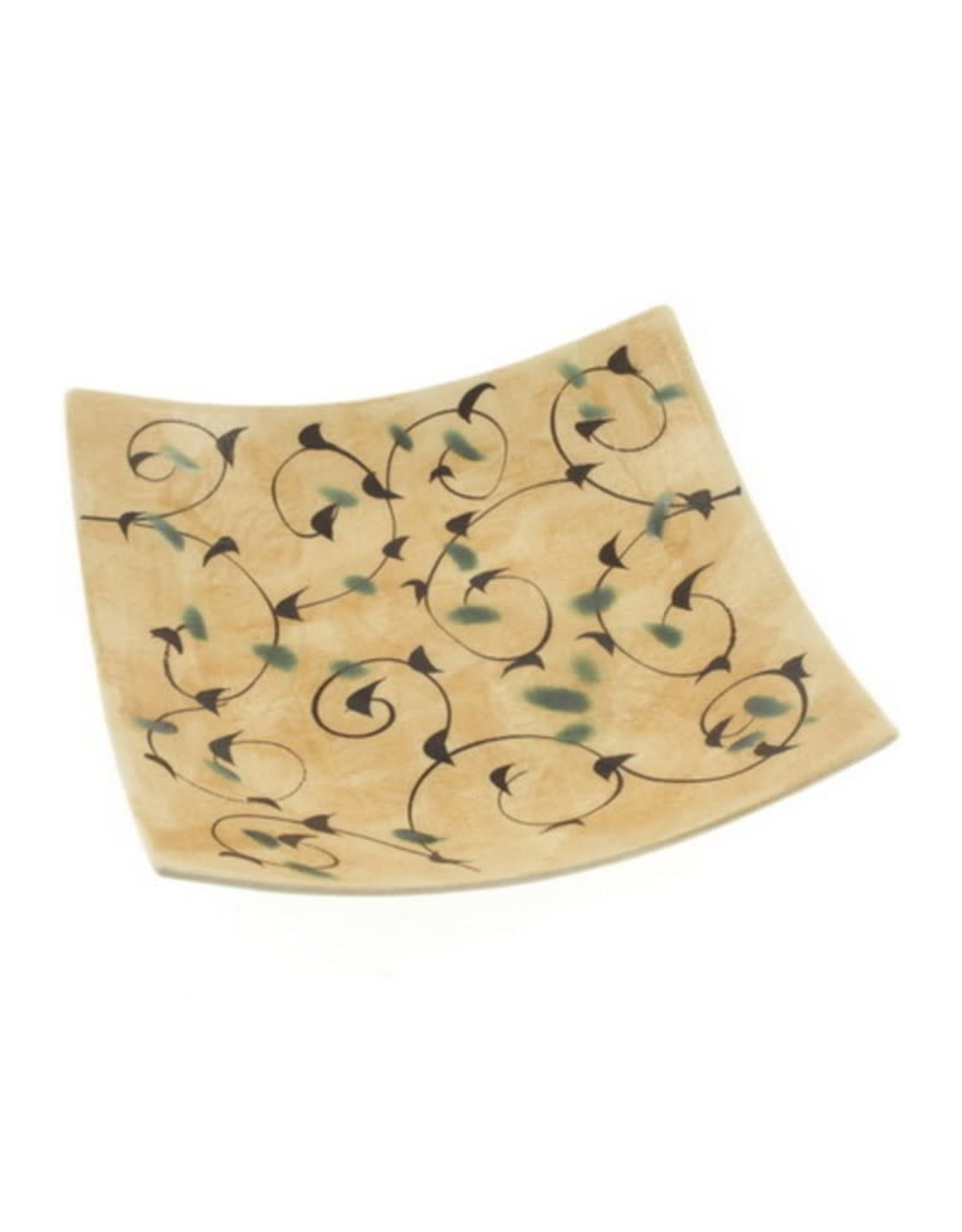 Kotobuki Trading Co. Inc Plate Square Gold/Taupe Arabesque