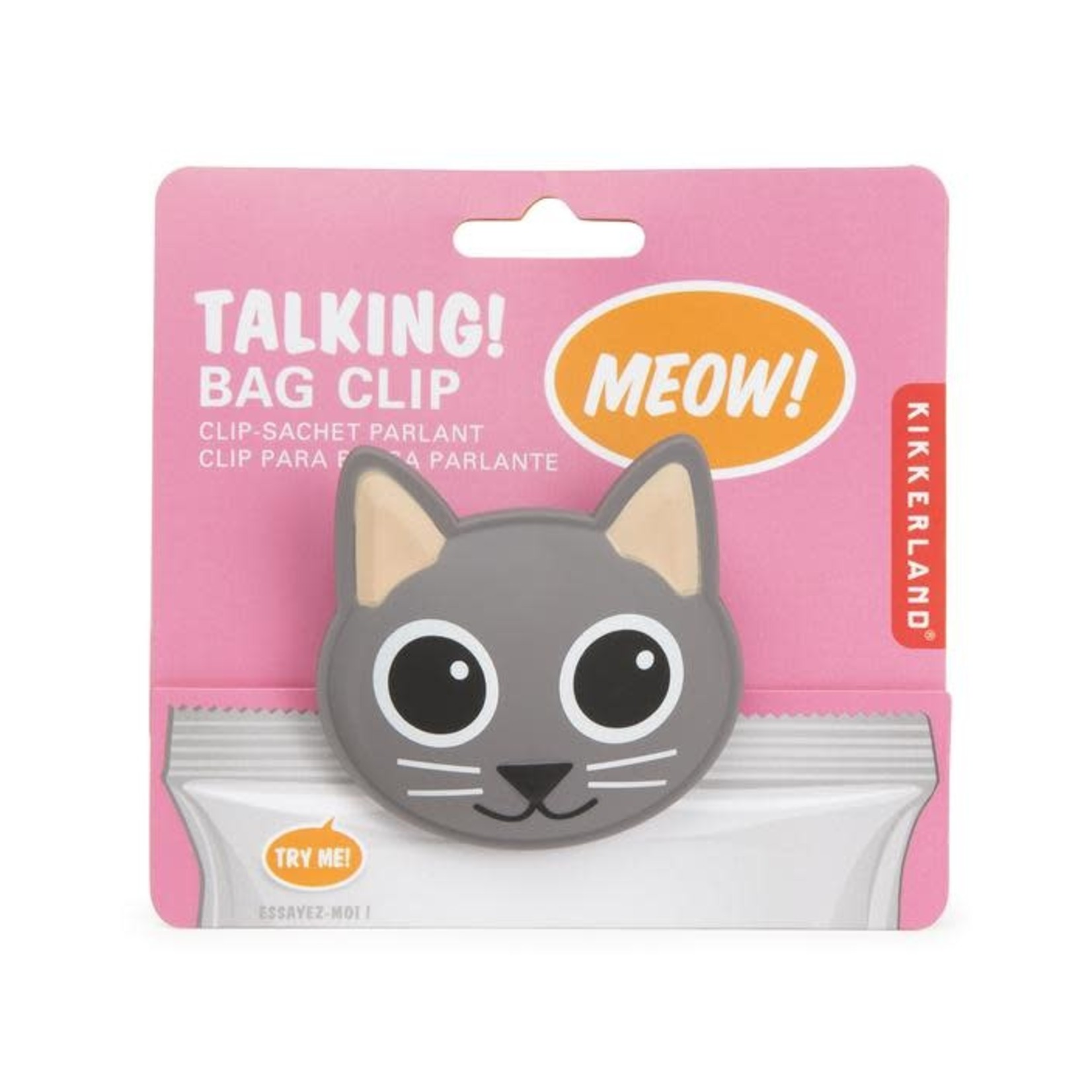 Kikkerland Talking Bag Clip Cat