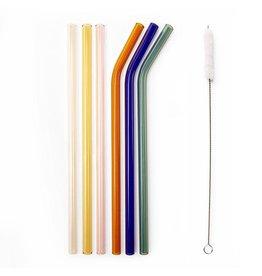 Kikkerland Colored Reusable Glass Straws