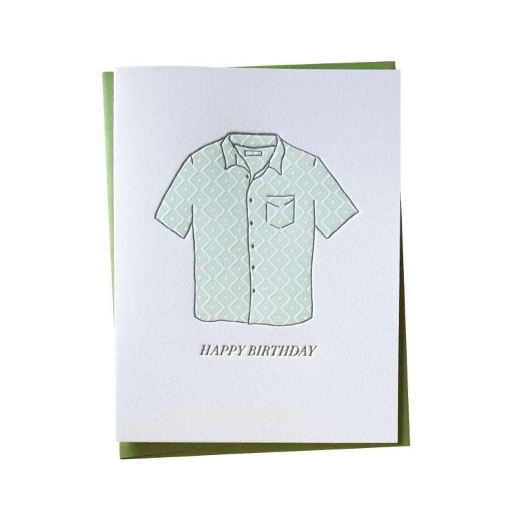 Bradley & Lily A2 Aloha Shirt Birthday Letterpress Folded Single Card