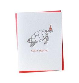 Bradley & Lily A2 Shellabrate Turtle Birthday Letterpress Folded Single Card
