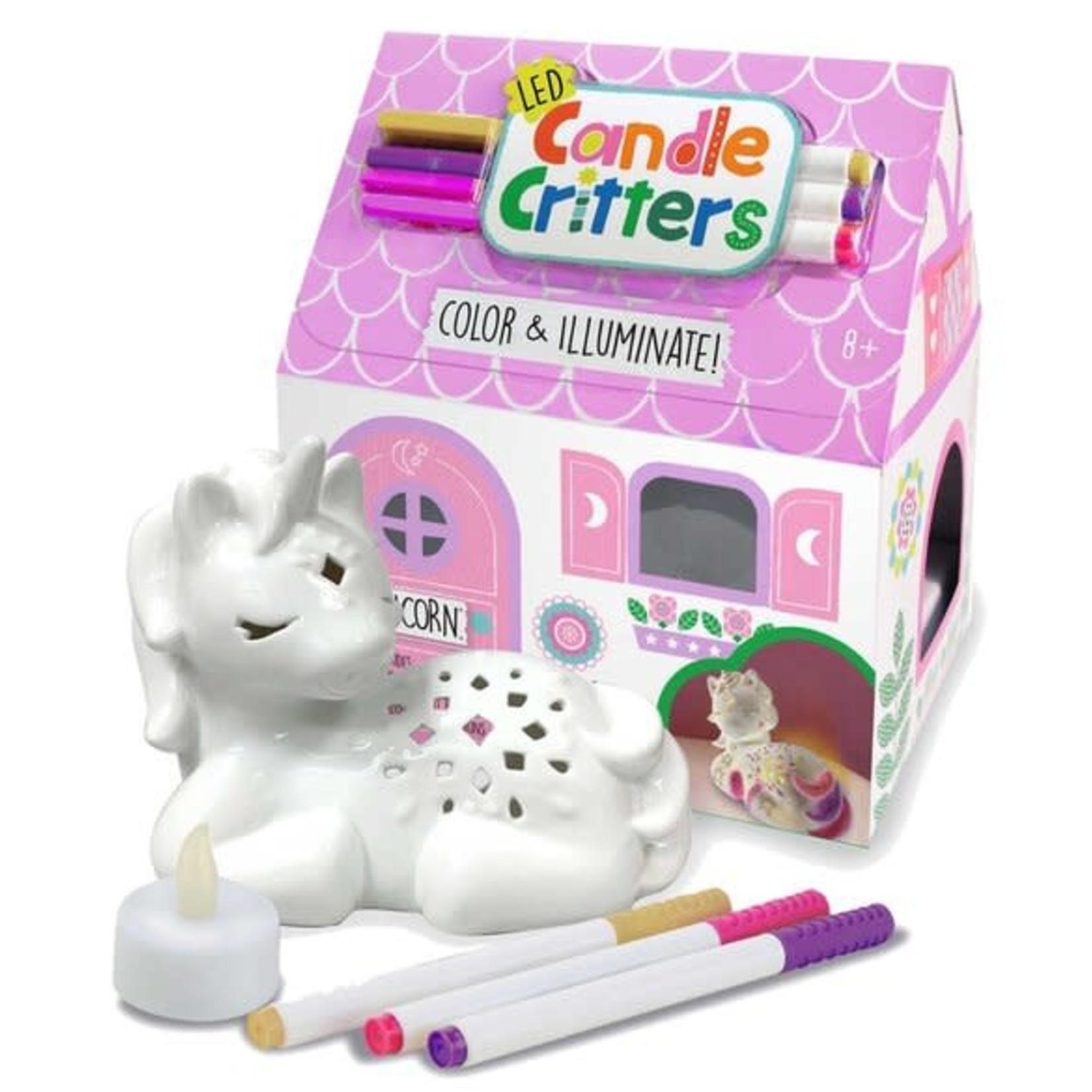 Bright Stripes LED Candle Critters: Unicorn