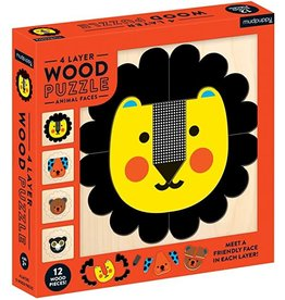 MudPuppy Puzzle 4 Layer Wood Animal Faces