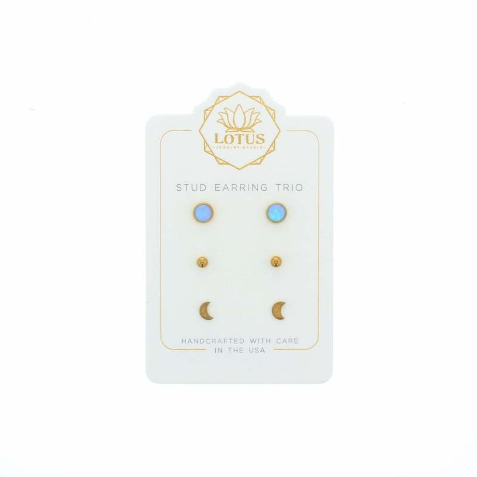 Lotus Jewelry Studio Silver Opal Stud Trio Card