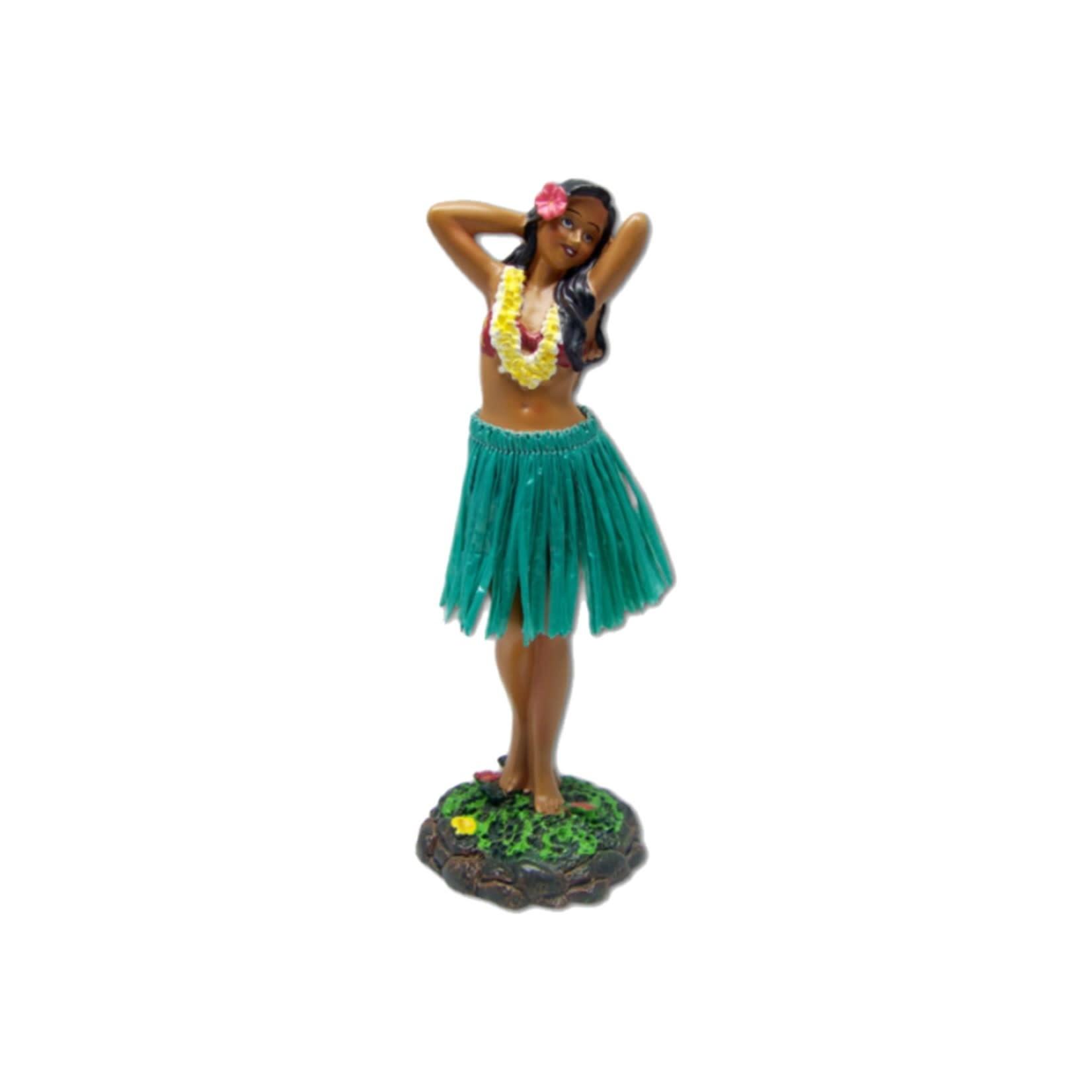 KC Hawaii Dashboard Doll Leilani Hula in Dancing Pose Green Skirt