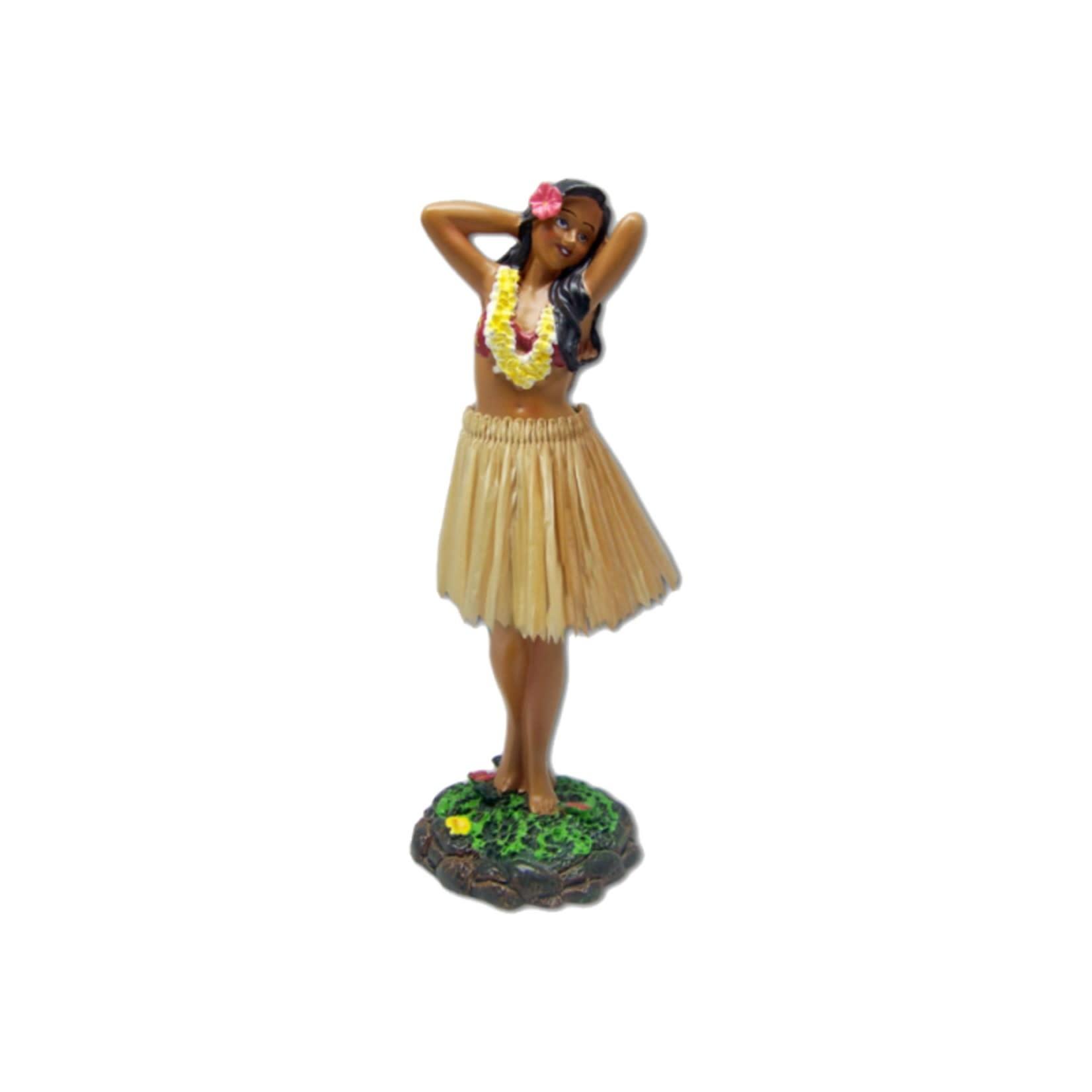 KC Hawaii Dashboard Doll Leilani Hula in Dancing Pose Natural Skirt