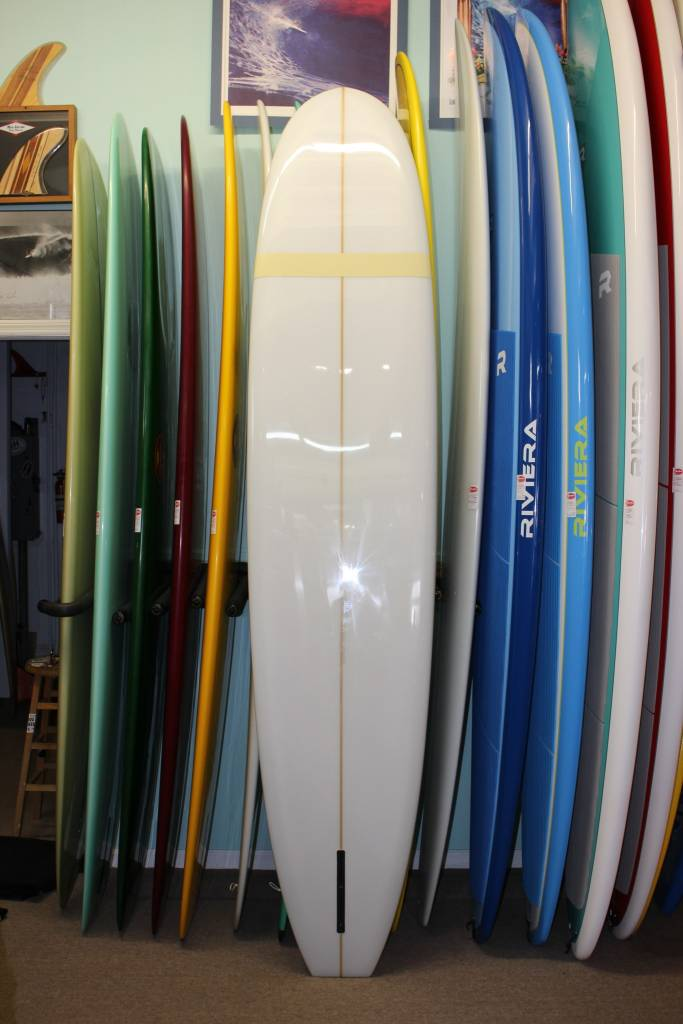 """Mitsven 9'6"""" Mitsven Surfboard - Nuuhiwa Noserider Clear w/Yellow Comp Band"""