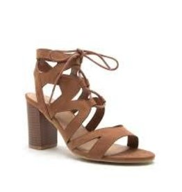 Camel strappy wood block sandal