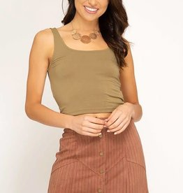 Rust faux suede striped front button skirt