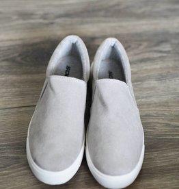 Light grey faux suede slip on sneakers