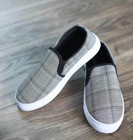 Black & white plaid, cloth slip on sneaker