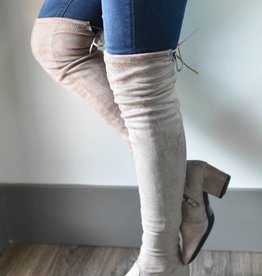 Taupe stretch suede over the knee boot