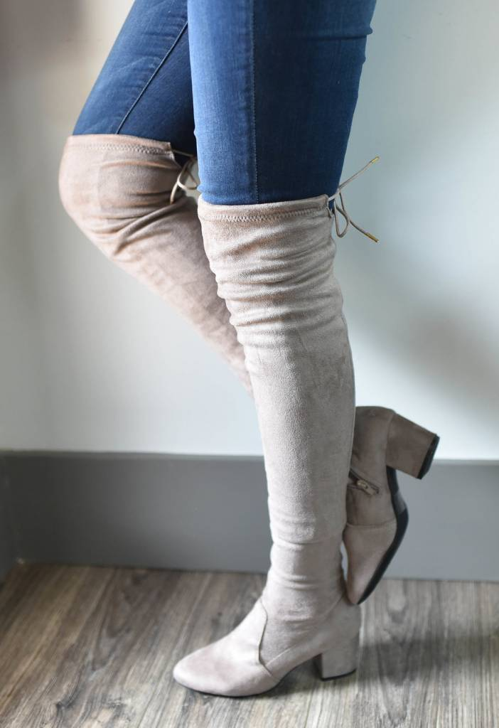 6ba436e0c4f Taupe stretch suede over the knee boot - Image Boutique