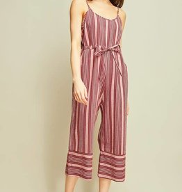 Burgundy striped wide leg jumpsuit