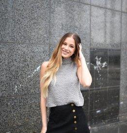 Black corduroy button skirt