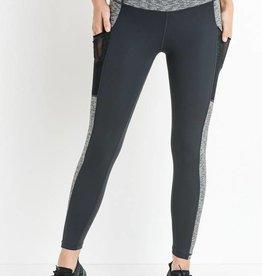 Grey monochrome pocket leggings