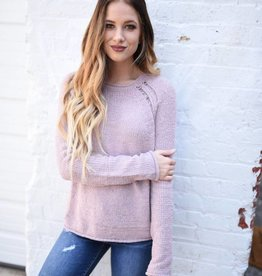 Chenille sweater with distressed shoulder detail