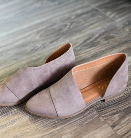 Taupe open shank flat