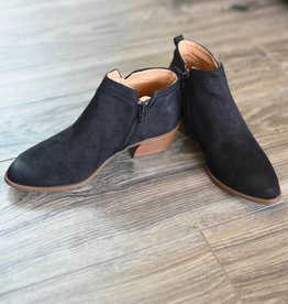 Black oil finish suede side zip bootie