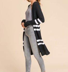 Black/white striped long cardigan