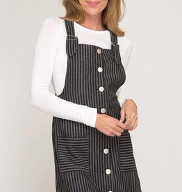 Black striped, button down overall dress