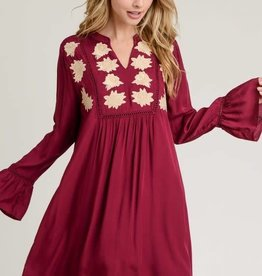 Embroidered burgundy, bell sleeve dress