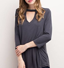 Charcoal modal fabric mock neck cut out front top