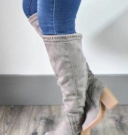 Charcoal knee high boot w/heel