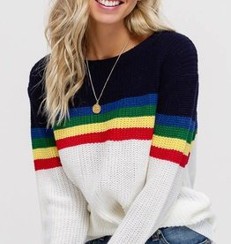 Ivory multi striped pullover sweater