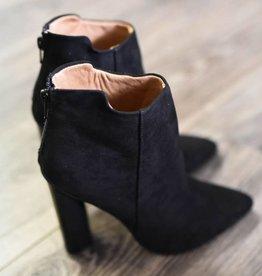 Black suede tall heel bootie