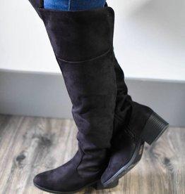 Black over the knee low heel boot
