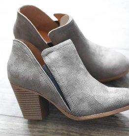 Grey ankle heel bootie