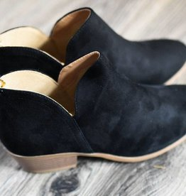 Black back zip ankle bootie