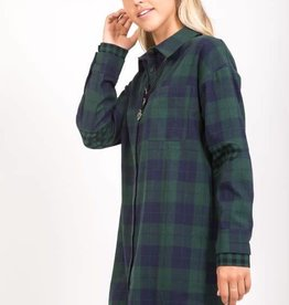 Forest/navy plaid flannel tunic