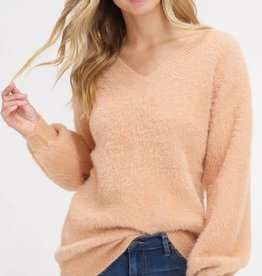 V neck soft pullover sweater