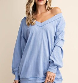 Blue wide V neck tunic top